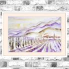 Obrazy akwarela,Toskania,krajobraz,fiolety,wschód