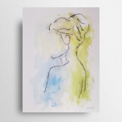 minimalizm,twarz,akwarela,tusz - Obrazy - Wyposażenie wnętrz