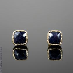 nieduże,delikatne,szafir,kwadratowe,pozłacane - Kolczyki - Biżuteria