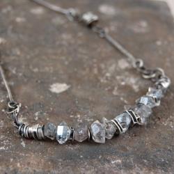 srebrny naszyjnik z kryształami herkimer - Naszyjniki - Biżuteria