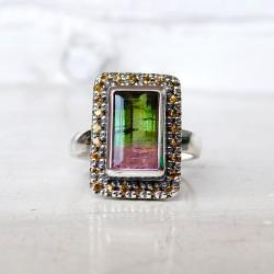 pierścionek,srebrny,turmalin arbuzowy,turmalin, - Pierścionki - Biżuteria
