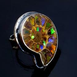 ammolit,srebrny,muszla,szlachetny,srebro,wiosna - Pierścionki - Biżuteria