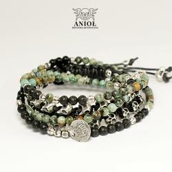 komplet meskiej biżuterii,bransoleta z czaszkami - Bransoletki - Biżuteria
