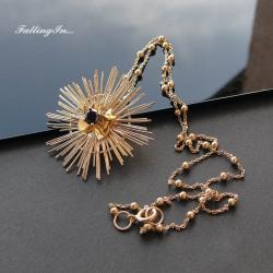 złoty wisiorek,słońce,z cyrkonią,złocony,helios - Wisiory - Biżuteria