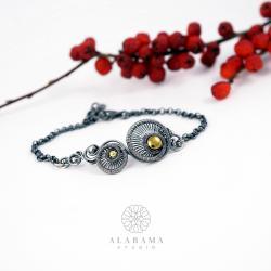 asymetryczna srebrna bransoletka,złoty hematyt - Bransoletki - Biżuteria