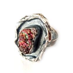 getyt,srebrny,multikolor,srebro,minerał,bordo,styl - Pierścionki - Biżuteria