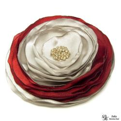 broszka,kwiat,satyna,czerwona,srebrna,szyta - Broszki - Biżuteria