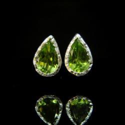 srebro,oliwin,perydot,sztyfty,zielony - Kolczyki - Biżuteria