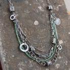 Naszyjniki naszyjnik ze srebra i zielonego apatytu