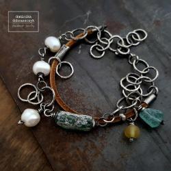 szkło,perła,bursztyn, - Bransoletki - Biżuteria