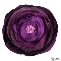 broszka,fioletowa,kwiaty,satyna,fiolet,szyta - Broszki - Biżuteria