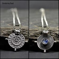 naszyjnik srebrna mandala,kamień księżycowy - Naszyjniki - Biżuteria