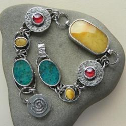 z bursztynem,srebro oksydowane,z granatami - Bransoletki - Biżuteria