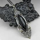 Wisiory wisior Czarny,klasyczny,smukły,elfi,onyks,liść