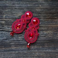bordowe kolczyki,bordowy sutasz - Kolczyki - Biżuteria
