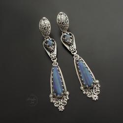 srebrne,długie kolczyki,z opalem i labradorytem - Kolczyki - Biżuteria