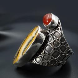srebrny pierścionek z jaspisem i karneolem - Pierścionki - Biżuteria