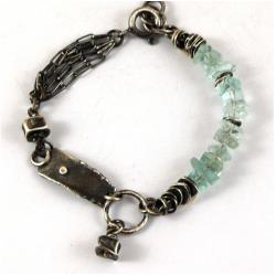 bransoleta ze srebra i akwamarynów - Bransoletki - Biżuteria