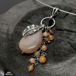 kamień słoneczny,listek,karneol,kropla,beż,srebro - Wisiory - Biżuteria