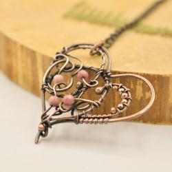 miedź,serduszko,wire-wrapping,serce,rodonit - Naszyjniki - Biżuteria