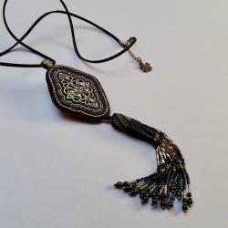 filigran,naszyjnik z koralikowym chwostem - Naszyjniki - Biżuteria