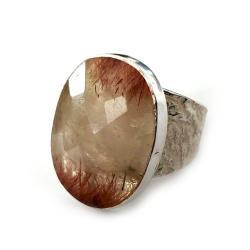 kwarc,truskawkwy,srebrny,szarości,srebro - Pierścionki - Biżuteria