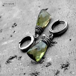 delikatne,codzienne,zielone,srebro,komplet - Kolczyki - Biżuteria