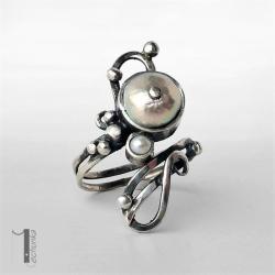 pierścionek srebrny,metaloplastykag,perły,925 - Pierścionki - Biżuteria