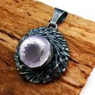 Wisiory kwarc,róż,królewski,blask,faset,delikatny,srebrny