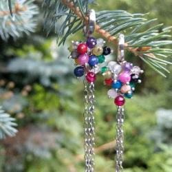 długie,kolorowe,grona - Kolczyki - Biżuteria
