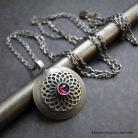 Naszyjniki srebro,granat,koronka,retro,oksydowane