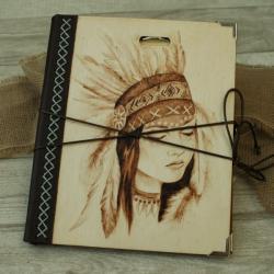wypalanie,notatnik,szkicownik,indianka - Notesy - Akcesoria