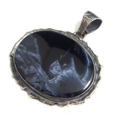 pietersit,blask,niebieski,szary,srebrny,GRAFITOWY - Wisiory - Biżuteria