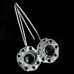 onyks,srebrne,oksyda,szarości,srebro,retro,czerń - Kolczyki - Biżuteria
