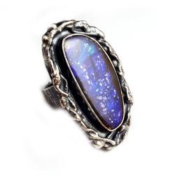Okazały pierścień,ammolit,unikat,srebro - Pierścionki - Biżuteria