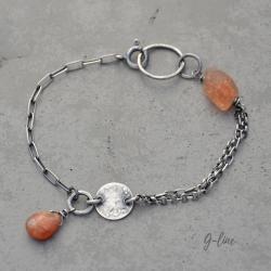 Delikatna bransoletka z kamieniem słoneczym - Bransoletki - Biżuteria