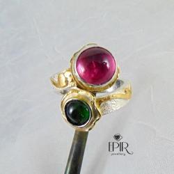 Pierścionek srebrnyz turmalinami - Pierścionki - Biżuteria