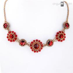Naszyjnik Rubinowe Kwiaty -Swarovski - Naszyjniki - Biżuteria