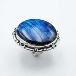 srebrny okrągły pierścień z labradorytem - Pierścionki - Biżuteria
