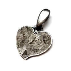 meteoryt,srebrny,blask,czerń,szarość,surowe,serce - Wisiory - Biżuteria