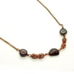 miedź,chainmaille,oksydowany,JewelsbyKT - Naszyjniki - Biżuteria
