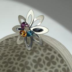 srebrny pierścionek z kryształami - Pierścionki - Biżuteria