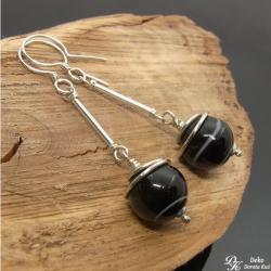 kolczyki,sardonyks,czarne,kule,minimalizm, - Kolczyki - Biżuteria