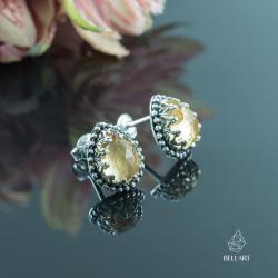 cytryn,koronkowe,eleganckie,retro - Kolczyki - Biżuteria