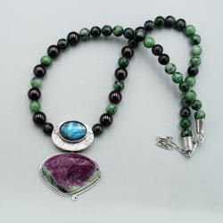 Naszyjnik z rubinem z zoizytem - Naszyjniki - Biżuteria