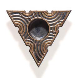 trójkątny lampion,świecznik,ceramika,czarny,złoty - Ceramika i szkło - Wyposażenie wnętrz