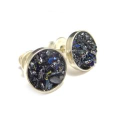karborund,srebrne,blask,srebro,tęczowe,delikatne - Kolczyki - Biżuteria