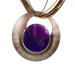 koło,agat,miedź,biżuteria - Naszyjniki - Biżuteria