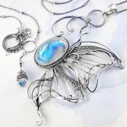 srebrny,naszyjnik,motyl,kamień,księżycowy,ciba - Naszyjniki - Biżuteria