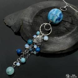 wisior,kula,niebieska,agat,larimar,długo,xxl - Wisiory - Biżuteria